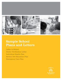 Sample School Plans and Letters