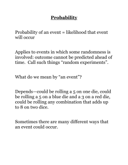 Probability Probability of an event = likelihood that event will occur