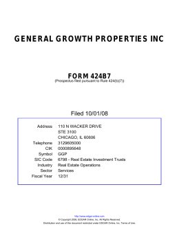 GENERAL GROWTH PROPERTIES INC