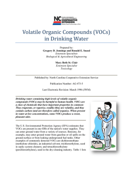 Volatile Organic Compounds (VOCs) in Drinking Water