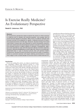 Is Exercise Really Medicine? An Evolutionary Perspective