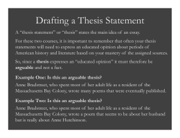 Drafting a Thesis Statement