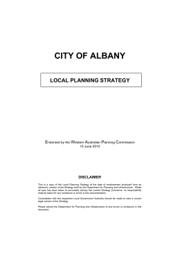 CITY OF ALBANY - Department of Planning
