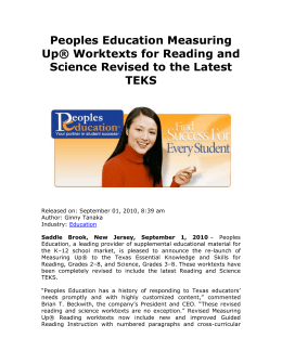 Peoples Education Measuring Up® Worktexts for Reading and