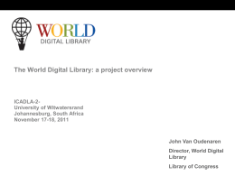 The World Digital Library: a project overview