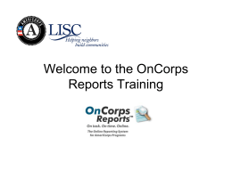 Welcome to the OnCorps Reports Training