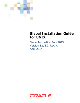Siebel Installation Guide for UNIX