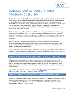 E-rate Program Overview - Universal Service Administrative Company