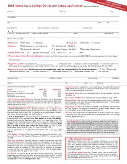 2008 keene State College Owl Soccer Camps Application (please