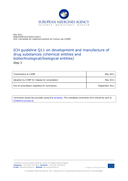 ICH guideline Q11 on development and manufacture of drug
