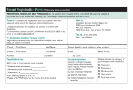 Parent Registration Form (Photocopy form as needed) - ESC-20