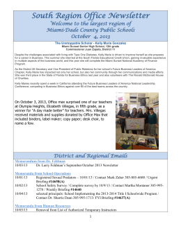 South Region Office Newsletter - Paul W. Bell Middle School