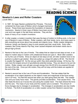 Newton`s Laws and Roller Coasters