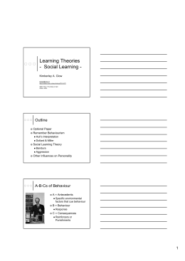 Learning Theories - Social Learning -