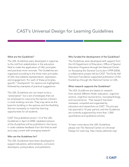 CAST`s Universal Design for Learning Guidelines