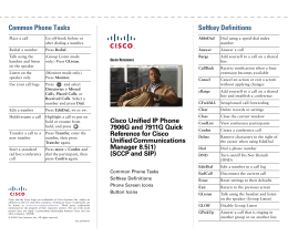 Cisco Unified IP Phone 7911 and 7906 Quick Reference for Cisco