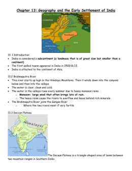 Chapter 13: Geography and the Early Settlement of India