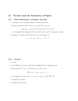12 Vectors and the Geometry of Space