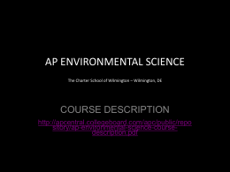 AP ENVIRONMENTAL SCIENCE The Charter School of