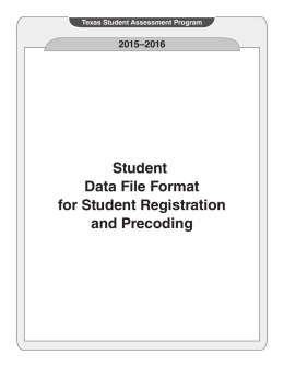 2015–2016 Student Data File Format for Student Registration and