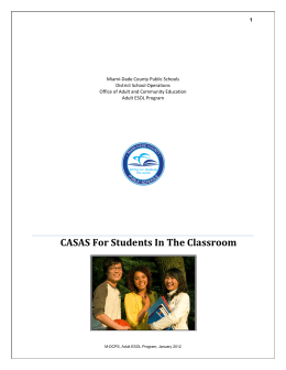 CASAS For Students In The Classroom