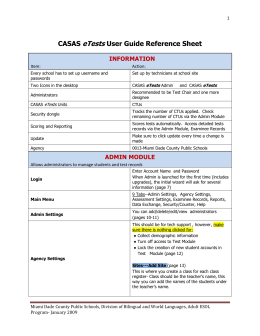 CASAS eTests User Guide Reference Sheet