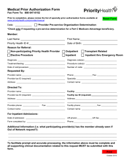 Medical Prior Authorization Form