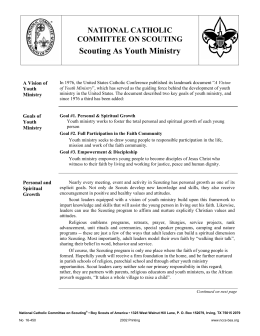 Scouting As Youth Ministry - National Catholic Committee on Scouting