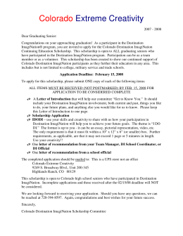 Information Letter for DI Scholarship