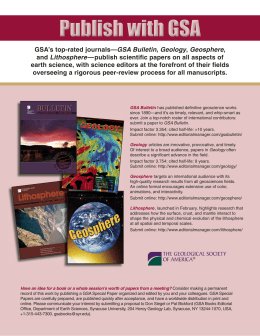 GSA`s top-rated journals—GSA Bulletin, Geology, Geosphere, and