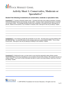 Activity Sheet 1: Risk Tolerance—Conservative, Moderate or