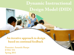 Dynamic Instructional Design Model (DID)