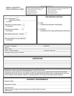 EMORY UNIVERSITY PRIOR APPROVAL FORM UNIVERSITY