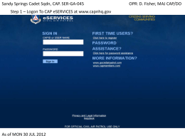 Step 1 – Logon To CAP eSERVICES at www.capnhq.gov