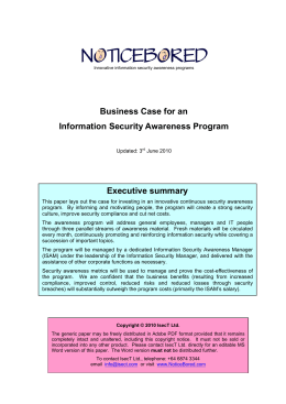 Generic business case for security awareness