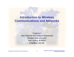 Introduction to Wireless Communications and Networks