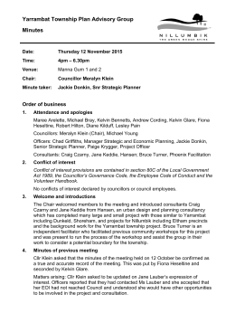 Yarrambat township group workshop minutes 12 November 2015