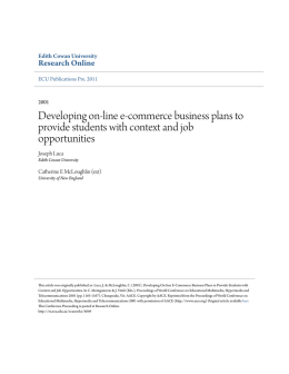 Developing on-line e-commerce business plans
