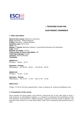 • TEACHING PLAN FOR ELECTRONIC COMMERCE