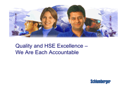 Schlumberger Culture and QHSE