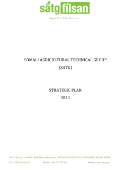 somali agricultural technical group (satg) strategic plan 2011