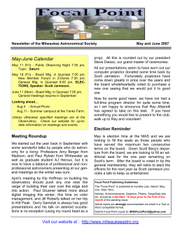 May and June - Milwaukee Astronomical Society