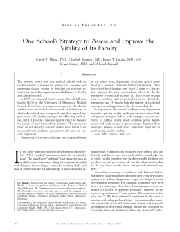 One School`s Strategy to Assess and Improve the Vitality of Its Faculty