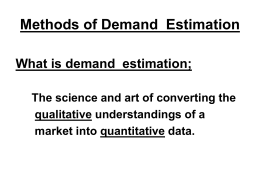 Methods of Demand Estimation