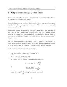 1 Why demand analysis/estimation?