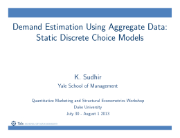 Demand Estimation Using Aggregate Data