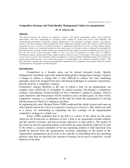 47 Competitive Strategy and Total Quality Management Culture in