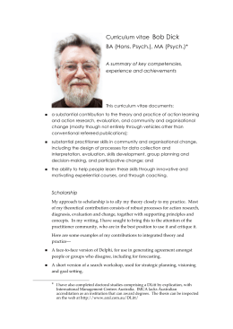 CV: Bob Dick - Action Research
