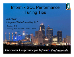 Informix SQL Performance Tuning Tips