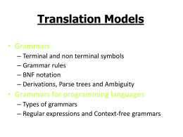 Formal Translation Models